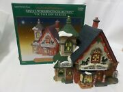 Santaand039s Workbench Collection Porcelain Lighted Corner Cupboard Antiques In Box