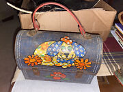 Vintage Aluminum Lunch Box Leather Strap 50and039s/60and039s Dog With Flowers 5104