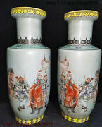 Ancient Chinese Dynasty Porcelain Mulan Joined The Army Flower Bottle Vase Pair