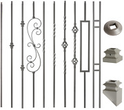 Ash Grey - 3/4 Square Mega Hollow Iron Balusters For Stair Remodel