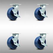 Ss Solid Poly Swvl Caster Set 4 W/6 Wheel- 4 Swvl W/side Lock Brk And Bsl