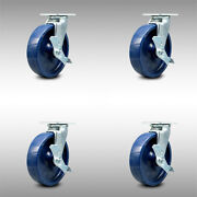 Ss Solid Poly Swvl Caster Set 4 W/8 Wheel- 4 Swvl W/side Lock Brk And Bsl