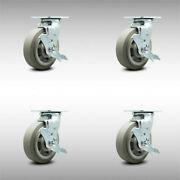 Ss Thermo Rubber Flat Tread Swvl Caster Set 4 W/6 Wheel - 4 Swivel W/brk And Bsl