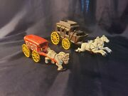 2 Vintage Painted Cast Iron Horse And Buggy Wagon Carriage + Ice Wagon Kids Toys