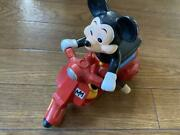 Mickey Mouse Scooter Wind-up Toy Masudaya Disney Antique From Japan Rare Used