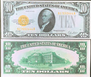Reproduction Copy United States Currency 10 Bill 1928 Gold Certificate Hamilton
