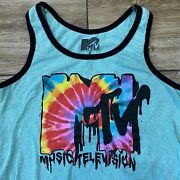 Mtv Music Television Tank Top Muscle T-shirt Tie Dye Logo Small