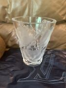Pre-owned Lalique Crystal Pre-1978 Ispahan Roses Vase 9.5 Tall Signed
