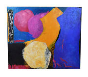 1990 Mitzi Abstract Color Expressionist Oil Painting Houston Texas Artist