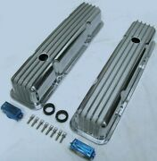 1958-86 Sbc Chevy 350 Retro Finned Polished Aluminum Tall Valve Covers 327 400