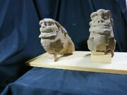 Vintage Edo A Pair Of Wooden Koma Inu Guardian Dogs Cultural Property Statues