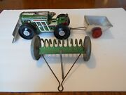 Vintage 1950s Marx Custom 3 Piece Tractor And Trailer Set No Box Used