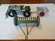 Vintage 1950s Marx Custom 3 Piece Tractor And Trailer Set, No Box, Used