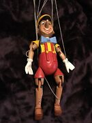 """Vintage Wooden Carved Pinnochio Marionette Puppet 16"""""""