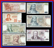 Greece Set Of Seven Drachmas Unc Banknotes Big And Small 5.000 Dr