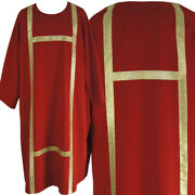 Red Gothic Dalmatic, Light-weight Fabric , Open Sides, Golden Belts