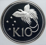 1976 Papua New Guinea Large Exotic Bird Old Proof Silver 10 Kina Coin Ngc I85980