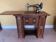 Antique Totally Refurbished No. 27 Singer Sewing Machine In Cabinet, With Parts