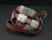 Navajo Andy Cadman Sterling Silver Leather Concho Belt 38 Stamped M1210