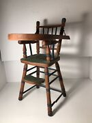 """Vintage Wood Hand Made And Hand Painted 18"""" Doll Highchair W/tray/ Circa 1950's"""