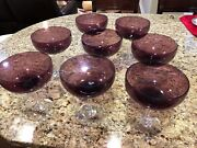 """Set Of 8 Crystal Glass Desert Sherbet Purple And Clear Foot 8"""" Tall 6 1/4"""" Large"""