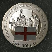 2001 Cook Islands Silver 1 Dollar Coin World Cup England .500 20g 40mm Proof