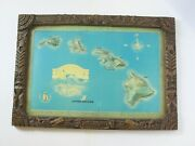 Vintage United Airlines Tiki 3d Relief Hawaii Travel Promo Map 1960s 1970s 37x28