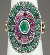 Fine Antique 19th C. Mughal Indian 18k Gold 1.4cts Emerald Ruby Curved Ring 5.5