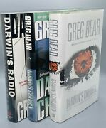 Set Of 3 Greg Bear Darwin Novels First Edition/first Printings Nf To Fine