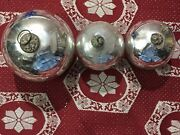 Antique German Lot Of 3 Christmas 3- 5 Silver Heavy Kugel Glass Ornament