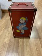 Vintage Doll Clothes Trunk Wardrobe Chest Box Carrying Case Red Metal 9.75