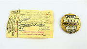 Vintage 1938 Pa Pennsylvania Fishing License Button With Matching Paper License