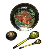 Lot - 1 Russian Plate Fairy Tale Ruslan And Ludmilla, 2 Wooden Spoons, 1 Round Box