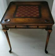 Franceandson Game Table With Chess Leather Board And Drawers Wood Antique Style