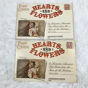 Vintage Hearts And Flowers Valentine's Day American Antique 1890s Postcards Book