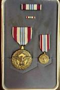 Usaf Defense Meritorious Service Medal Set First Issue 1970s Andldquopouchandrdquo Type Case