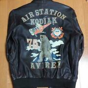 Military Jacket Avirex Size L Sheep Leather Bear Vintage Very Rare From Japan O2