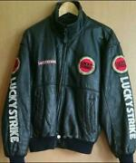 Lucky Strike Menand039s Leather Jacket Vintage L Green Biker Used Good From Japan