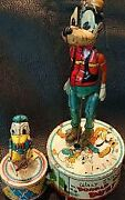 Antique Tin Toy Donald And Goofy Wind-up Action Line Mar 1946 Vintage Rare H9