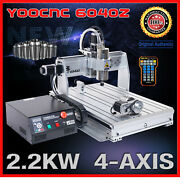 Usb Four 4axis 6040 2200w Cnc Router Engraver Engraving Milling Drilling Machine