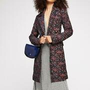 Free People Womens Fox Trot Equestrian Double Buttons Midi Coat- Red Combo, Xs