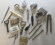 Dealers Lot 21 Pieces - Snuff Box, Tin, Bottle Opener, Vesta Case And Button Hooks