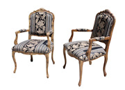 Vintage Rococo Louis Xv French Tortoise Wood Bergere Chairs - A Pair