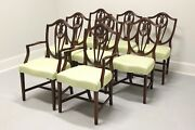 Vintage Mahogany Hepplewhite Dining Chairs W/ Of Wales Plumes - Set Of 8
