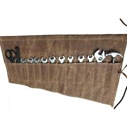 Chengyi Waxed Canvas Wrench Roll Up Organizer Tool Bag With 14 Pockets Waterp...