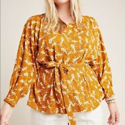 Anthropologie Plus Amber Dolman Sleeve Gold Brown Floral Top 1x Womenand039s Blouse