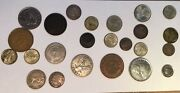 60 International Currency Silver And Minor Coins French Francs 1837 Spain Mexico