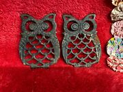 Vtg Cast Iron Small Owl Trivets Decorative Hot Plate Holders