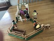 Playmobil Small Horse Ranch Dark Haired Family Of 5 Horse Pony Dog And Trough