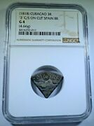Ngc 1818 Curacao 3 Reales Countermark On Cut Spanish 8 Reales Counterstamp Coin